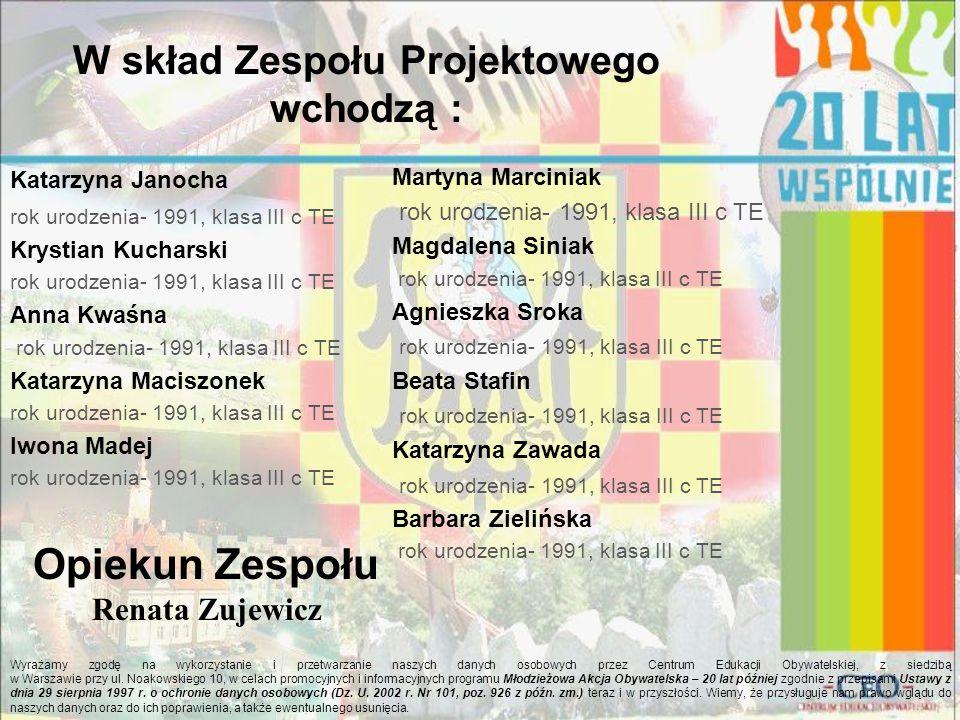 W skład Zespołu Projektowego wchodzą : Wyrażamy zgodę na wykorzystanie i przetwarzanie naszych danych osobowych przez Centrum Edukacji Obywatelskiej, z siedzibą w Warszawie przy ul.