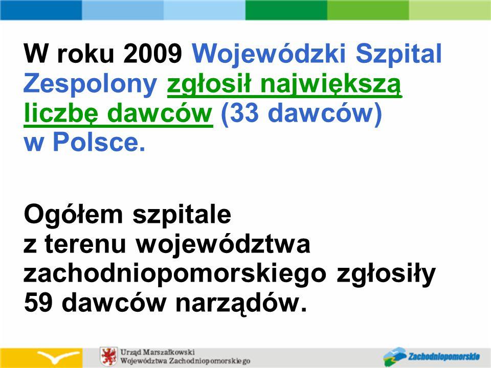 W roku 2009 Wojewódzki Szpital Zespolony zgłosił największą liczbę dawców (33 dawców) w Polsce.