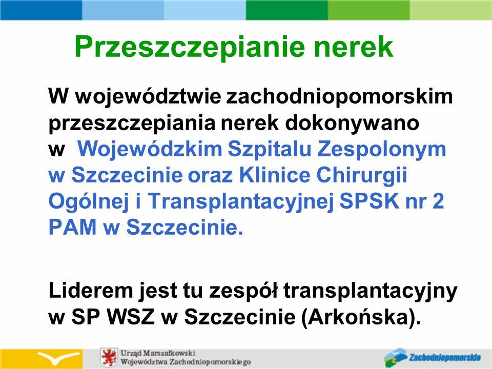 Przeszczepianie nerek W województwie zachodniopomorskim przeszczepiania nerek dokonywano w Wojewódzkim Szpitalu Zespolonym w Szczecinie oraz Klinice Chirurgii Ogólnej i Transplantacyjnej SPSK nr 2 PAM w Szczecinie.