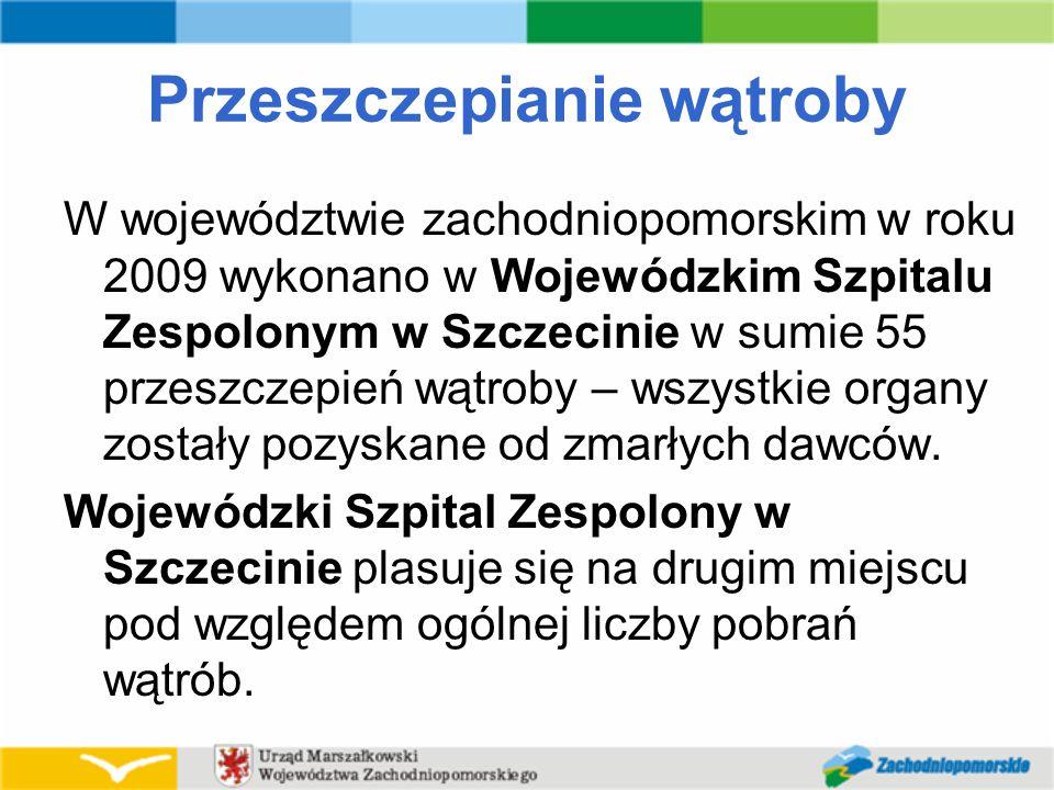 Przeszczepianie wątroby W województwie zachodniopomorskim w roku 2009 wykonano w Wojewódzkim Szpitalu Zespolonym w Szczecinie w sumie 55 przeszczepień wątroby – wszystkie organy zostały pozyskane od zmarłych dawców.