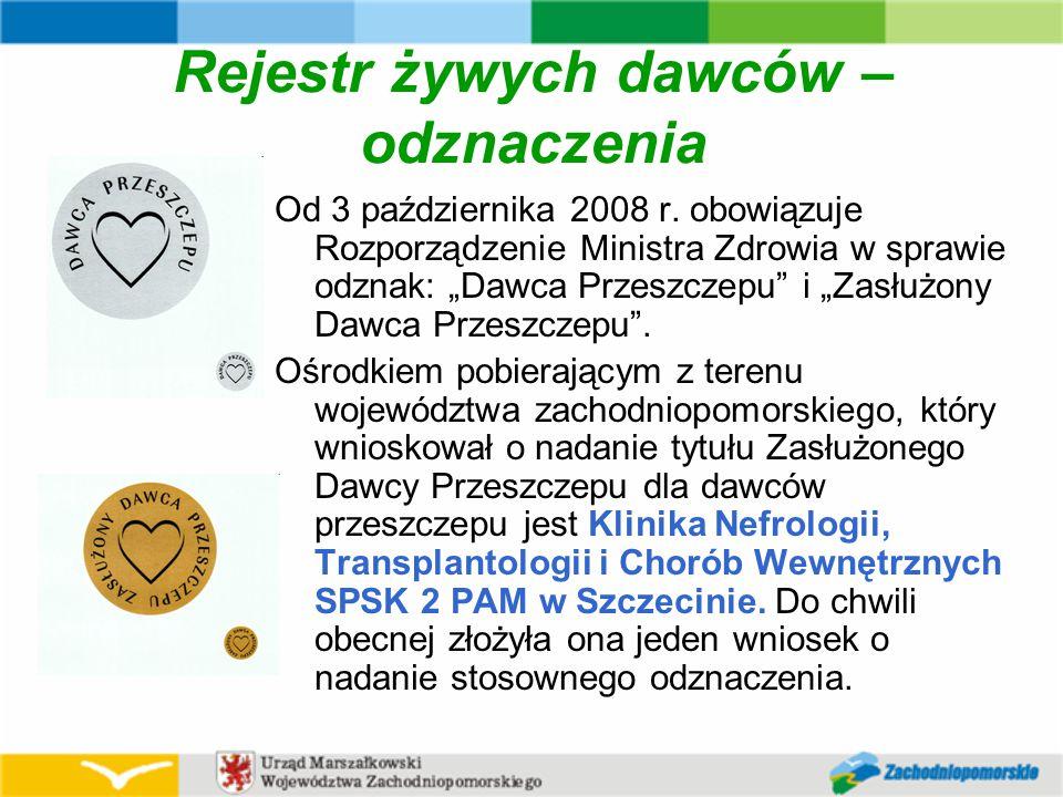 Rejestr żywych dawców – odznaczenia Od 3 października 2008 r.
