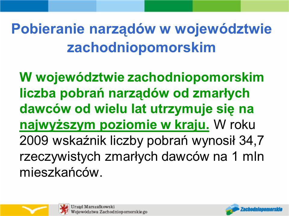 Pobieranie narządów w województwie zachodniopomorskim W województwie zachodniopomorskim liczba pobrań narządów od zmarłych dawców od wielu lat utrzymuje się na najwyższym poziomie w kraju.