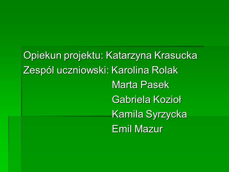 Opiekun projektu: Katarzyna Krasucka Zespól uczniowski: Karolina Rolak Marta Pasek Marta Pasek Gabriela Kozioł Gabriela Kozioł Kamila Syrzycka Kamila Syrzycka Emil Mazur Emil Mazur