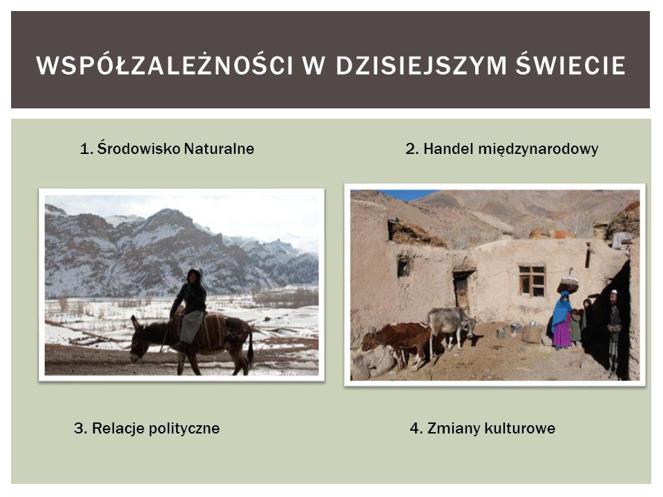 WSPÓŁZALEŻNOŚCI W DZISIEJSZYM ŚWIECIE 1. Środowisko Naturalne2. Handel międzynarodowy 3. Relacje polityczne 4. Zmiany kulturowe