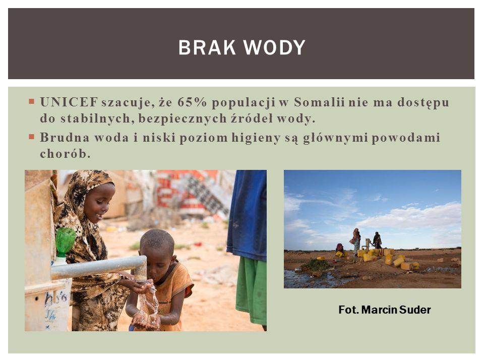  UNICEF szacuje, że 65% populacji w Somalii nie ma dostępu do stabilnych, bezpiecznych źródeł wody.  Brudna woda i niski poziom higieny są głównymi