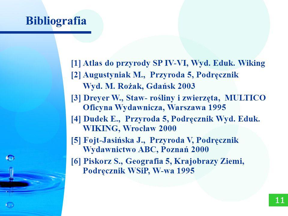 [1] Atlas do przyrody SP IV-VI, Wyd. Eduk. Wiking [2] Augustyniak M., Przyroda 5, Podręcznik Wyd. M. Rożak, Gdańsk 2003 [3] Dreyer W., Staw- rośliny i
