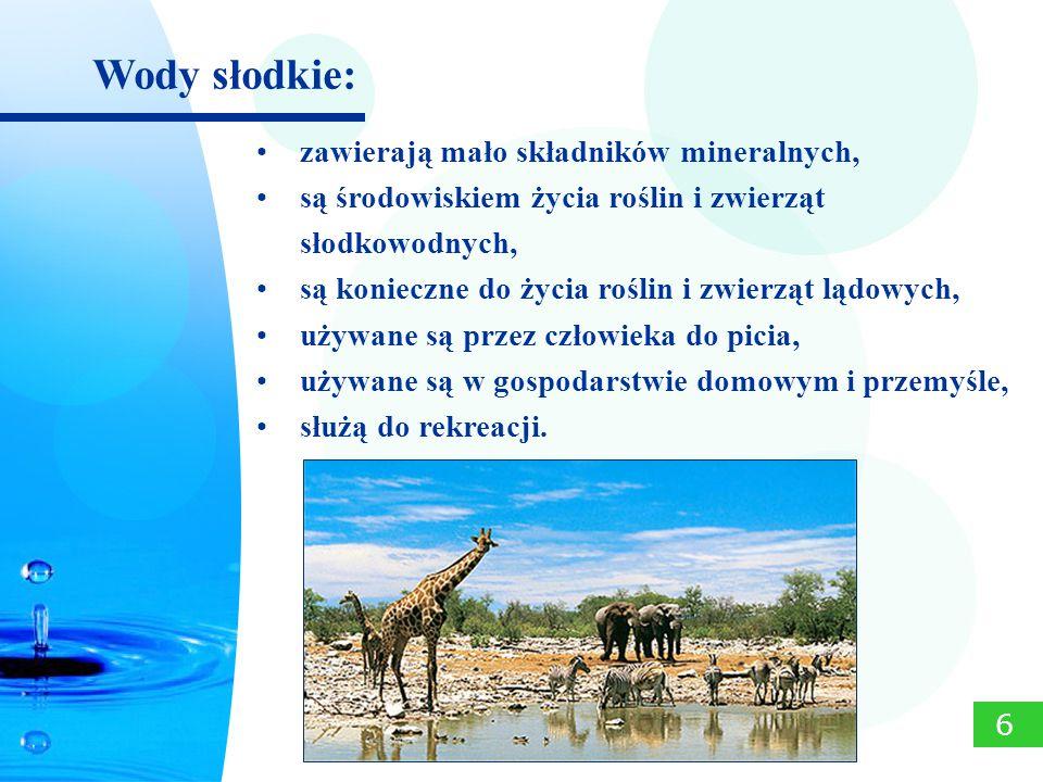 zawierają mało składników mineralnych, są środowiskiem życia roślin i zwierząt słodkowodnych, są konieczne do życia roślin i zwierząt lądowych, używan