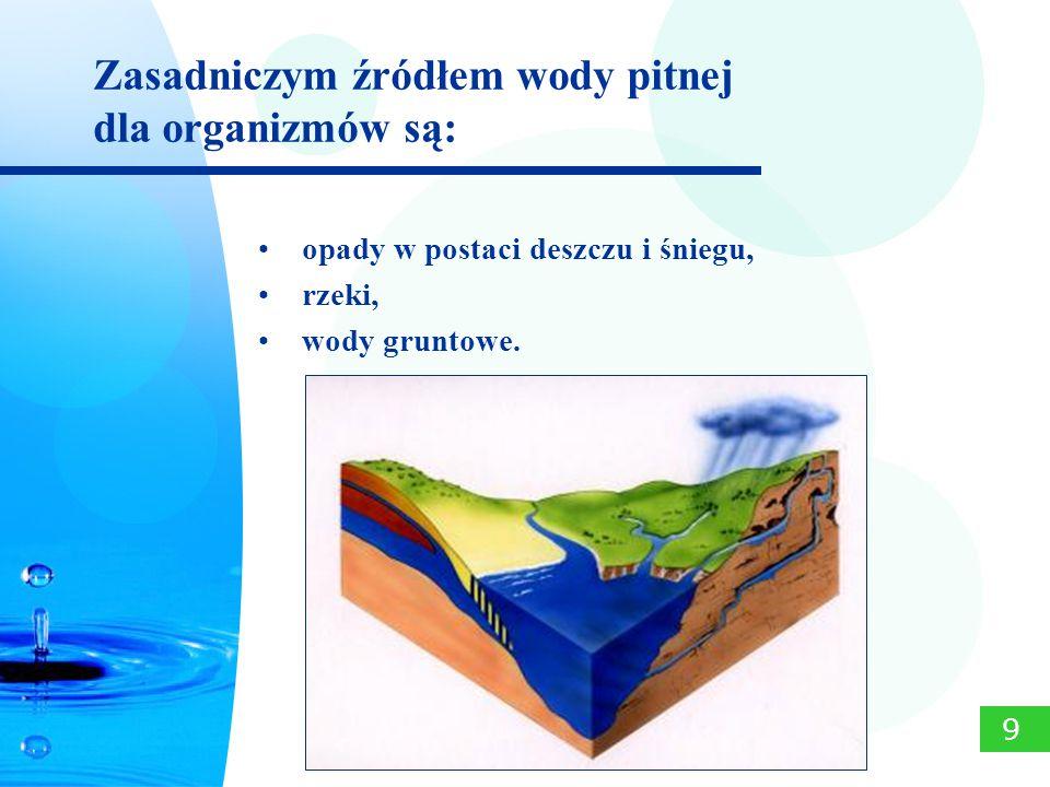 Zasadniczym źródłem wody pitnej dla organizmów są: 9 opady w postaci deszczu i śniegu, rzeki, wody gruntowe.