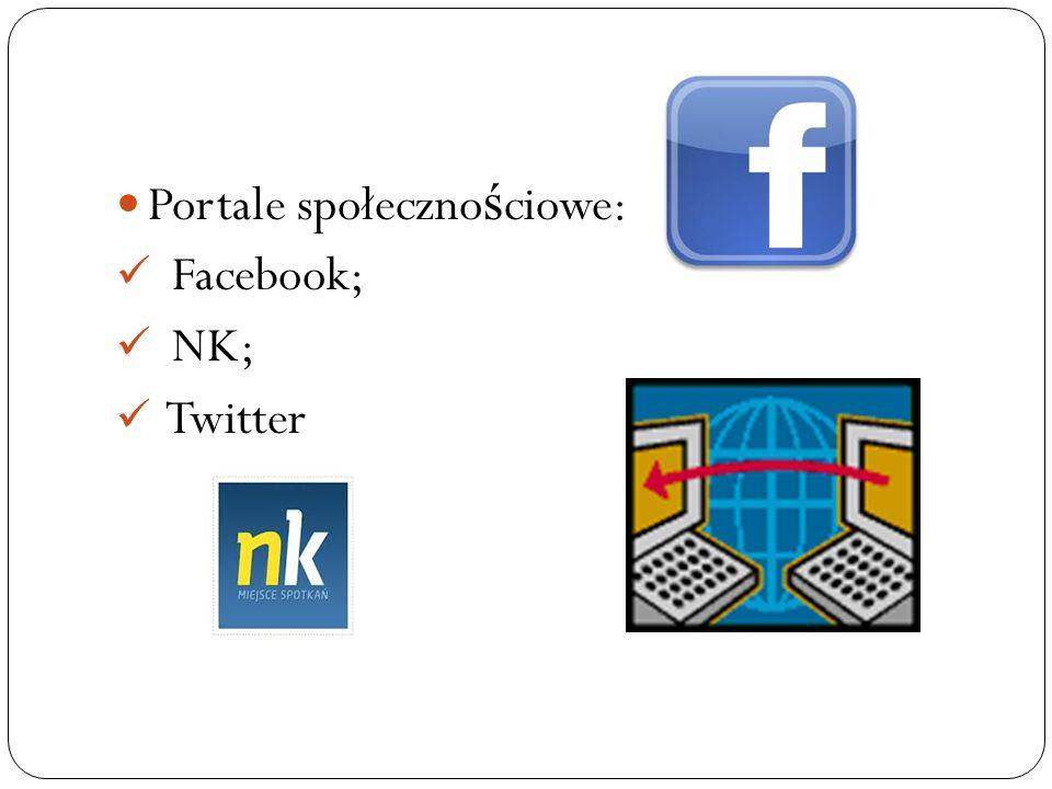 Portale społeczno ś ciowe: Facebook; NK; Twitter