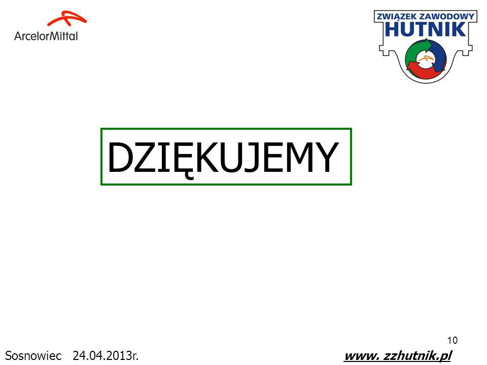 10 Sosnowiec 24.04.2013r. www. zzhutnik.pl DZIĘKUJEMY