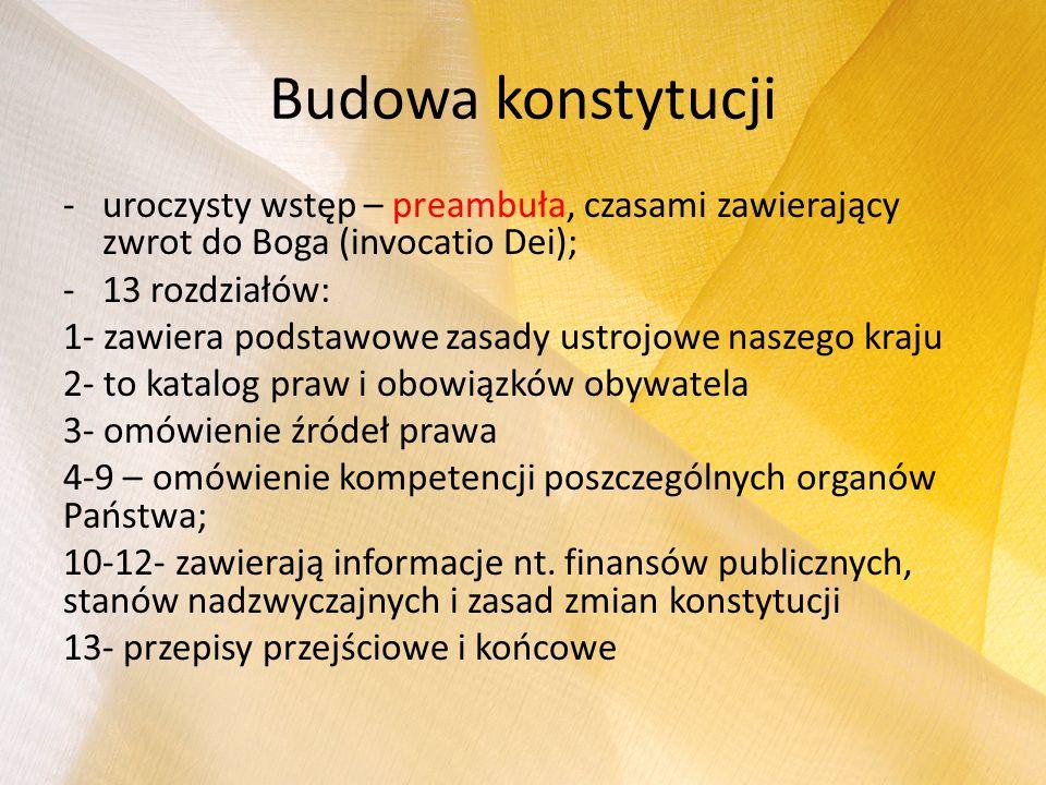 Budowa konstytucji -uroczysty wstęp – preambuła, czasami zawierający zwrot do Boga (invocatio Dei); -13 rozdziałów: 1- zawiera podstawowe zasady ustro