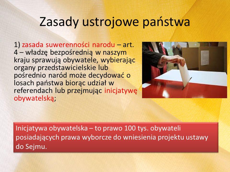 Zasady ustrojowe państwa 1) zasada suwerenności narodu – art. 4 – władzę bezpośrednią w naszym kraju sprawują obywatele, wybierając organy przedstawic