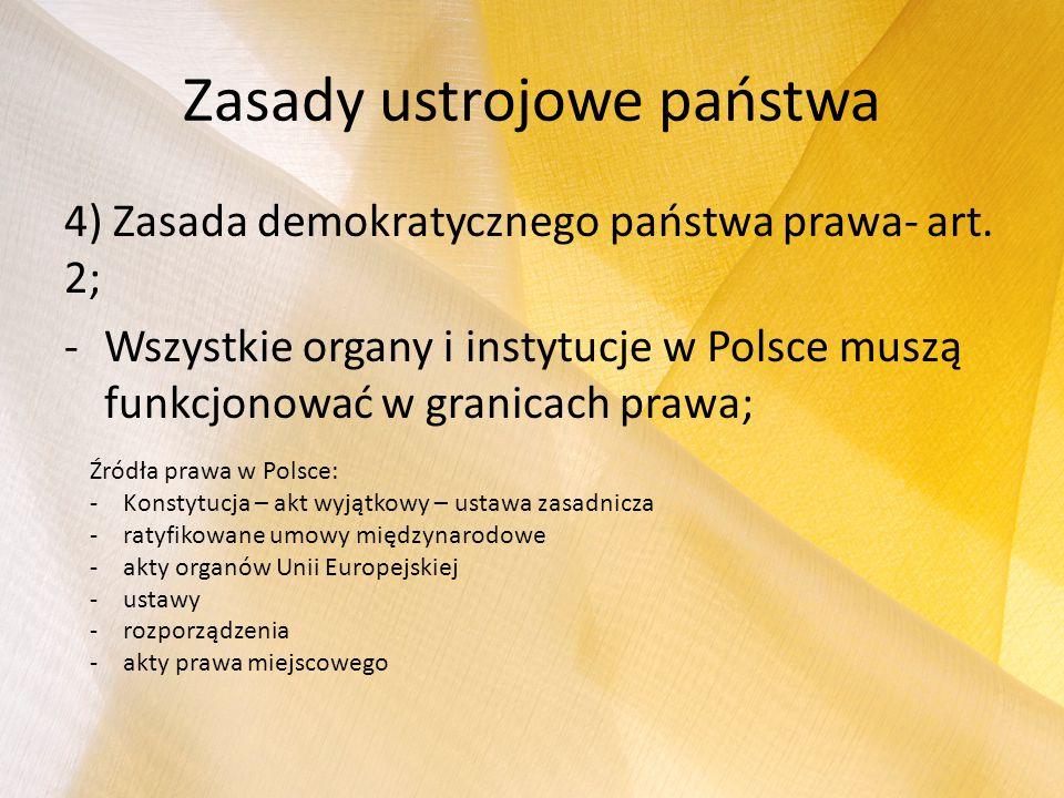Zasady ustrojowe państwa 4) Zasada demokratycznego państwa prawa- art. 2; -Wszystkie organy i instytucje w Polsce muszą funkcjonować w granicach prawa