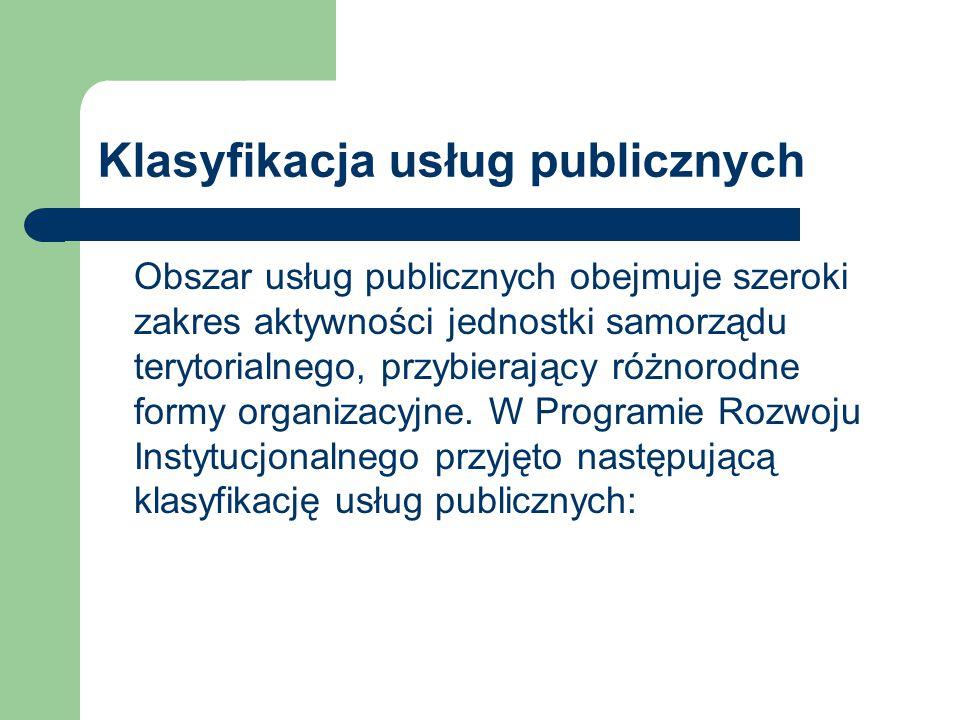 Klasyfikacja usług publicznych Obszar usług publicznych obejmuje szeroki zakres aktywności jednostki samorządu terytorialnego, przybierający różnorodne formy organizacyjne.