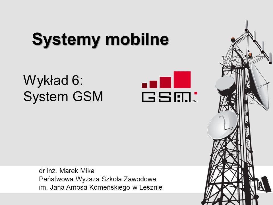 Transmisja sygnału mowy Połączenie technik FDMA i TDMA Każdy BTS dysponuje wiązką kilku kanałów częstotliwościowych, a każdy kanał podzielony jest na 8 szczelin czasowych Wybrana szczelina (lub ½ szczeliny) czasowa na określonym kanale czasowym stanowi kanał rozmowny W czasie rozmowy wysyłane są do sieci raporty pomiarowe o mocy sygnału z pobliskich stacji bazowych –utrata sygnału przy oddalaniu się od stacji –pogorszenie warunków propagacji w ramach jednej stacji Na podstawie analizy pomiarów BSC może: –przełączyć na inną stację bazową – roaming –przyznać inną częstotliwość © 2014dr inż.