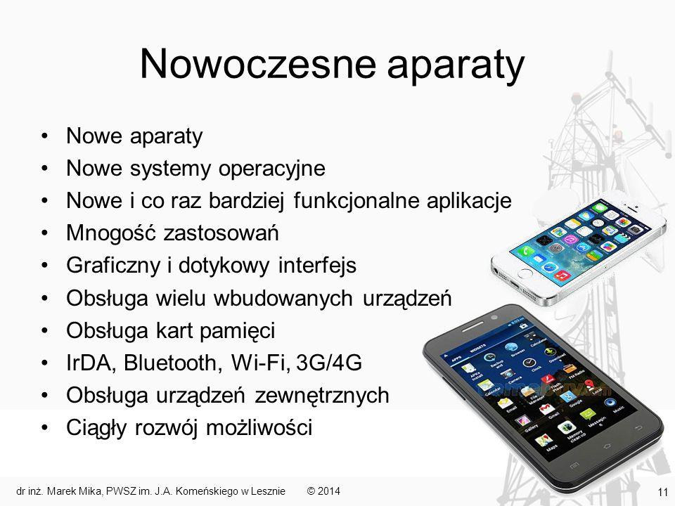 Nowoczesne aparaty Nowe aparaty Nowe systemy operacyjne Nowe i co raz bardziej funkcjonalne aplikacje Mnogość zastosowań Graficzny i dotykowy interfej
