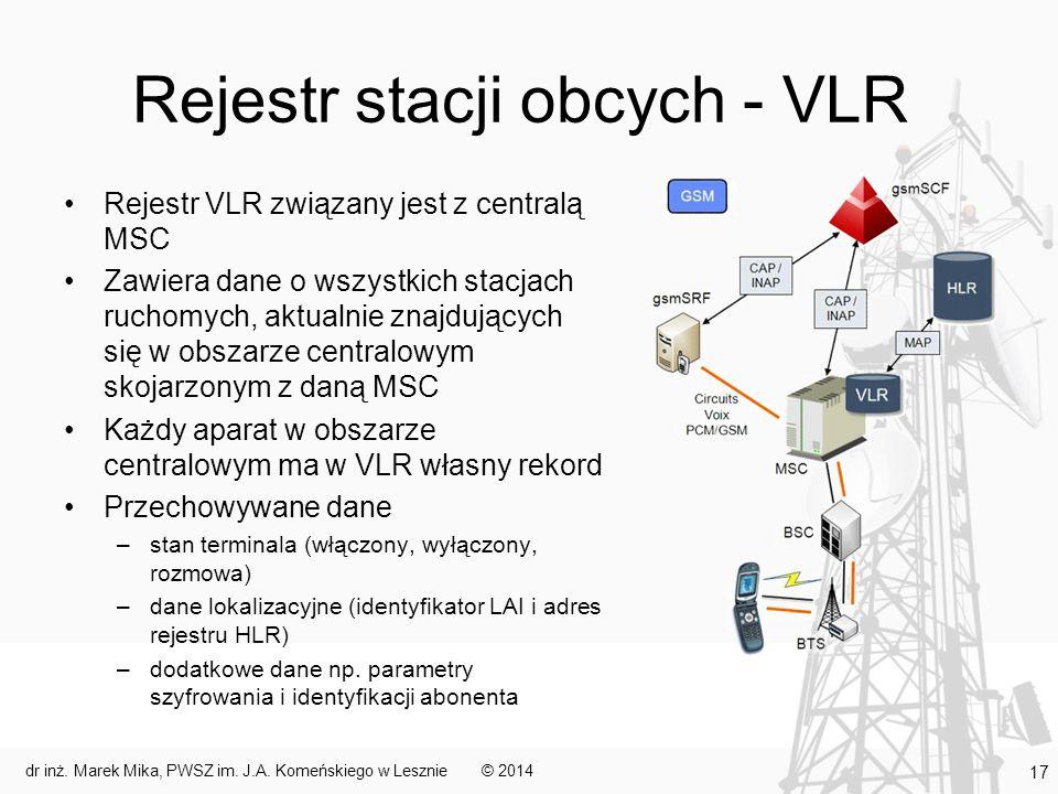 Rejestr stacji obcych - VLR Rejestr VLR związany jest z centralą MSC Zawiera dane o wszystkich stacjach ruchomych, aktualnie znajdujących się w obszarze centralowym skojarzonym z daną MSC Każdy aparat w obszarze centralowym ma w VLR własny rekord Przechowywane dane –stan terminala (włączony, wyłączony, rozmowa) –dane lokalizacyjne (identyfikator LAI i adres rejestru HLR) –dodatkowe dane np.