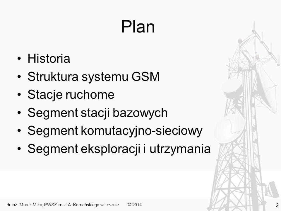 Zespół stacji bazowych Dwa podstawowe bloki: –część transmisyjna stacje bazowe (BTS) służące do komunikacji z użytkownikami mobilnymi i połączone ze sterownikami stacji bazowych funkcje – obróbka sygnału, frequency hopping, szyfrowanie i deszyfrowanie komunikatów przychodzących i wychodzących –część sterująca sterowniki stacji bazowych (BSC) położone między stacjami bazowymi a częścią komutacyjno-sieciową funkcje – sterowanie podległymi stacjami bazowymi oraz znajdującymi się w ich zasięgu terminalami (np.