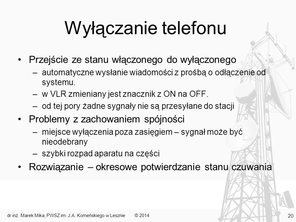 Wyłączanie telefonu Przejście ze stanu włączonego do wyłączonego –automatyczne wysłanie wiadomości z prośbą o odłączenie od systemu. –w VLR zmieniany