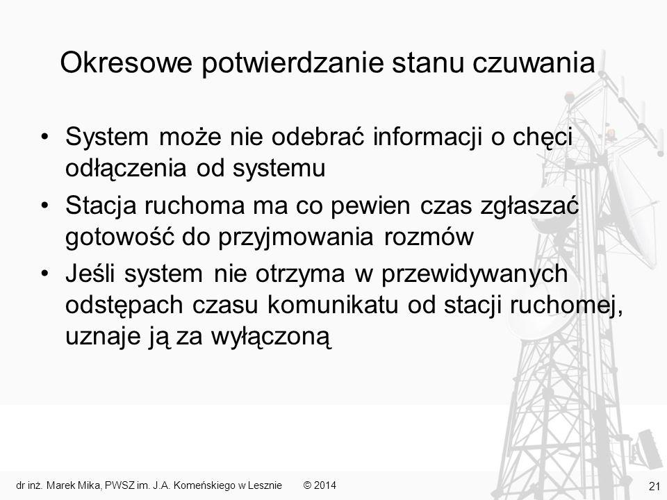 Okresowe potwierdzanie stanu czuwania System może nie odebrać informacji o chęci odłączenia od systemu Stacja ruchoma ma co pewien czas zgłaszać gotow