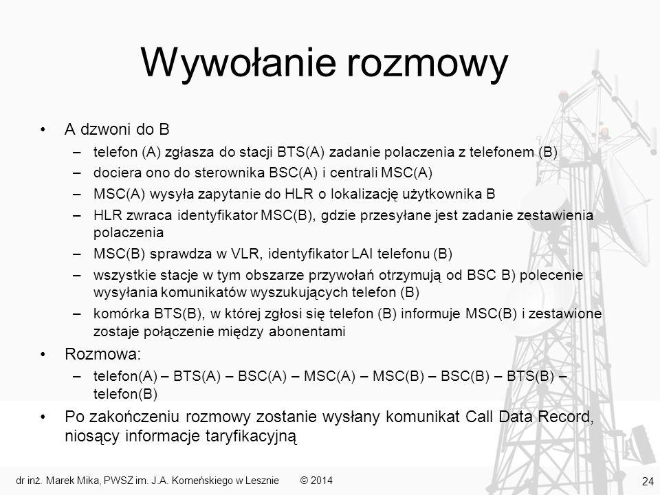 Wywołanie rozmowy A dzwoni do B –telefon (A) zgłasza do stacji BTS(A) zadanie polaczenia z telefonem (B) –dociera ono do sterownika BSC(A) i centrali MSC(A) –MSC(A) wysyła zapytanie do HLR o lokalizację użytkownika B –HLR zwraca identyfikator MSC(B), gdzie przesyłane jest zadanie zestawienia polaczenia –MSC(B) sprawdza w VLR, identyfikator LAI telefonu (B) –wszystkie stacje w tym obszarze przywołań otrzymują od BSC B) polecenie wysyłania komunikatów wyszukujących telefon (B) –komórka BTS(B), w której zgłosi się telefon (B) informuje MSC(B) i zestawione zostaje połączenie między abonentami Rozmowa: –telefon(A) – BTS(A) – BSC(A) – MSC(A) – MSC(B) – BSC(B) – BTS(B) – telefon(B) Po zakończeniu rozmowy zostanie wysłany komunikat Call Data Record, niosący informacje taryfikacyjną © 2014dr inż.