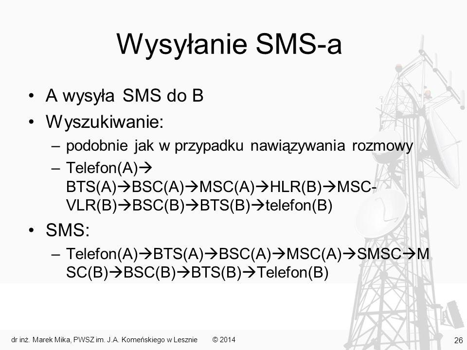Wysyłanie SMS-a A wysyła SMS do B Wyszukiwanie: –podobnie jak w przypadku nawiązywania rozmowy –Telefon(A)  BTS(A)  BSC(A)  MSC(A)  HLR(B)  MSC- VLR(B)  BSC(B)  BTS(B)  telefon(B) SMS: –Telefon(A)  BTS(A)  BSC(A)  MSC(A)  SMSC  M SC(B)  BSC(B)  BTS(B)  Telefon(B) © 2014dr inż.