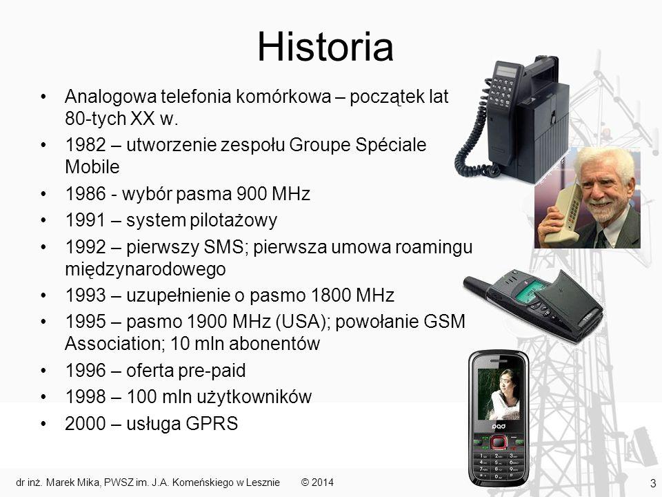 Historia Analogowa telefonia komórkowa – początek lat 80-tych XX w. 1982 – utworzenie zespołu Groupe Spéciale Mobile 1986 - wybór pasma 900 MHz 1991 –