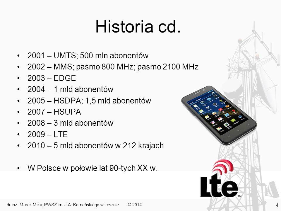Historia cd. 2001 – UMTS; 500 mln abonentów 2002 – MMS; pasmo 800 MHz; pasmo 2100 MHz 2003 – EDGE 2004 – 1 mld abonentów 2005 – HSDPA; 1,5 mld abonent