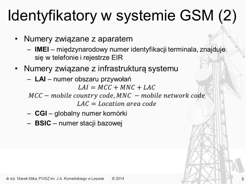 Identyfikatory w systemie GSM (2) © 2014dr inż. Marek Mika, PWSZ im. J.A. Komeńskiego w Lesznie 8