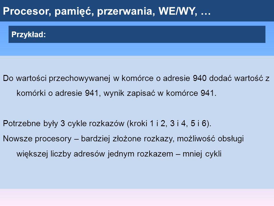 Procesor, pamięć, przerwania, WE/WY, … Przykład: Do wartości przechowywanej w komórce o adresie 940 dodać wartość z komórki o adresie 941, wynik zapis