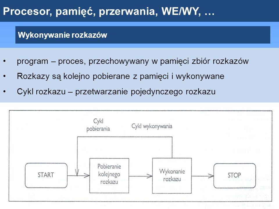 Wykonywanie rozkazów program – proces, przechowywany w pamięci zbiór rozkazów Rozkazy są kolejno pobierane z pamięci i wykonywane Cykl rozkazu – przet