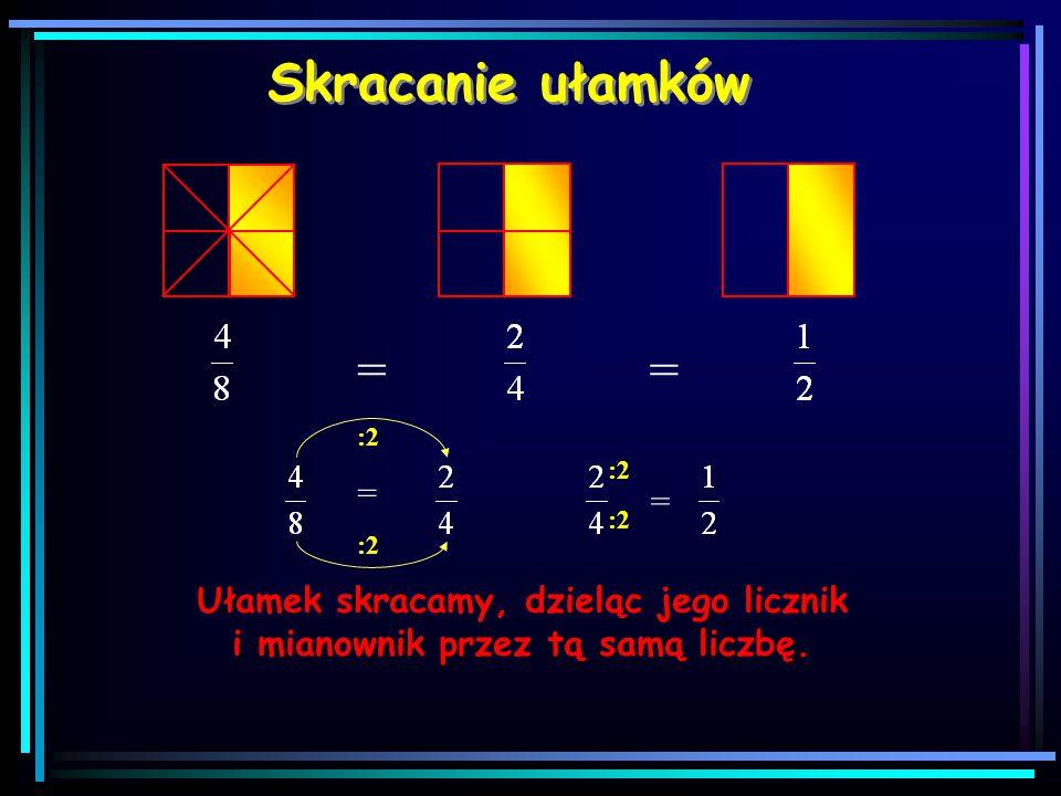 Rozszerzanie ułamków Ułamek rozszerzamy, mnożąc jego licznik i mianownik przez tą samą liczbę. == = 22 22 = 22 22