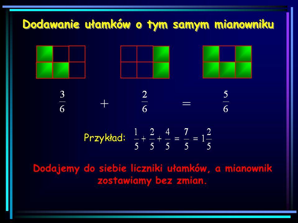 Skracanie ułamków Ułamek skracamy, dzieląc jego licznik i mianownik przez tą samą liczbę. == = :2 =