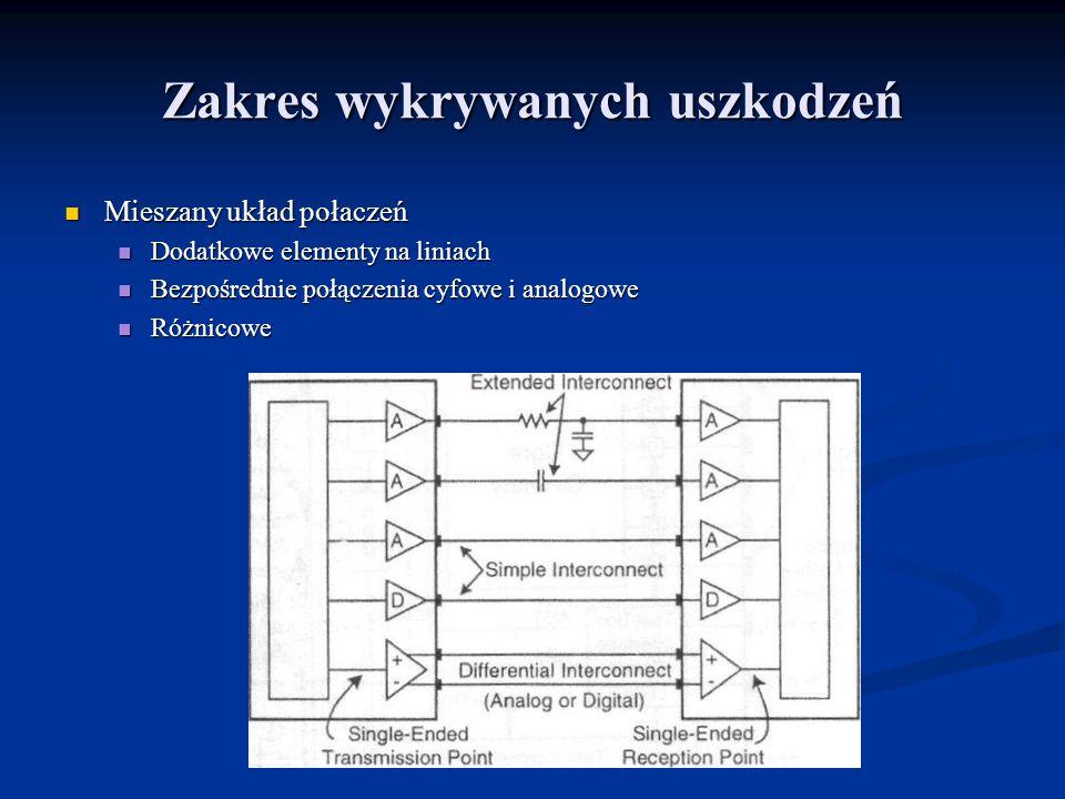 Zakres wykrywanych uszkodzeń Mieszany układ połaczeń Mieszany układ połaczeń Dodatkowe elementy na liniach Dodatkowe elementy na liniach Bezpośrednie połączenia cyfowe i analogowe Bezpośrednie połączenia cyfowe i analogowe Różnicowe Różnicowe