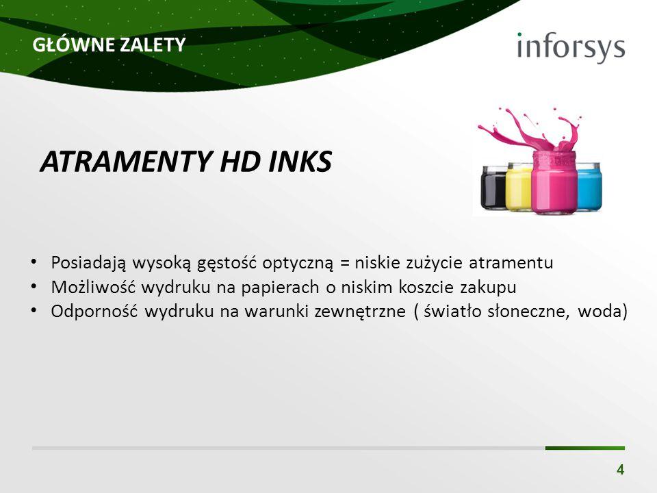 GŁÓWNE ZALETY 4 ATRAMENTY HD INKS Posiadają wysoką gęstość optyczną = niskie zużycie atramentu Możliwość wydruku na papierach o niskim koszcie zakupu