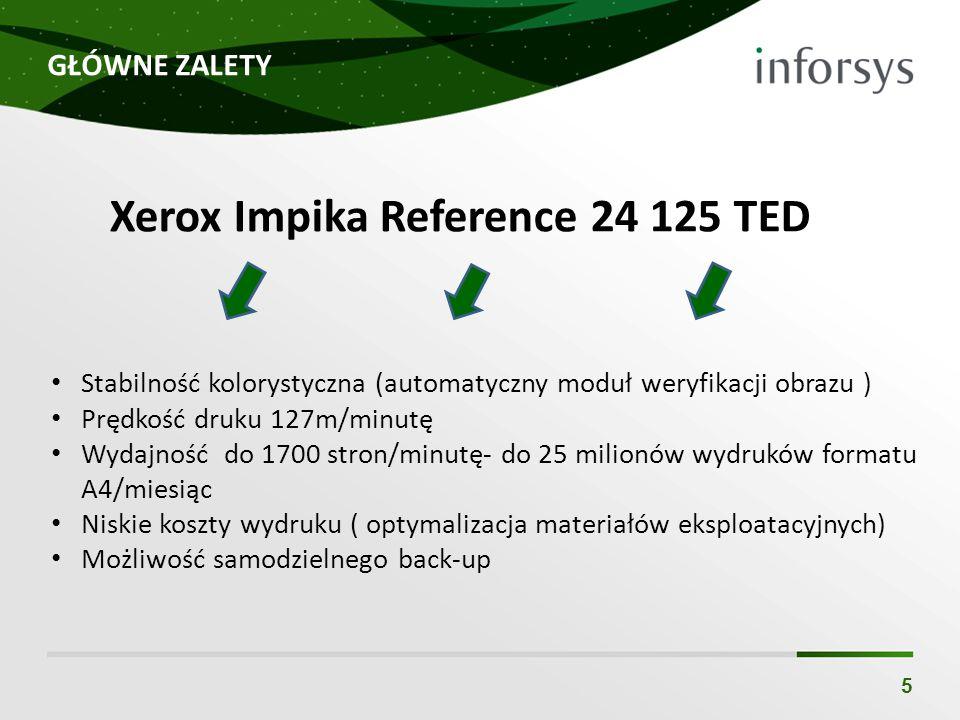 GŁÓWNE ZALETY 5 Stabilność kolorystyczna (automatyczny moduł weryfikacji obrazu ) Prędkość druku 127m/minutę Wydajność do 1700 stron/minutę- do 25 milionów wydruków formatu A4/miesiąc Niskie koszty wydruku ( optymalizacja materiałów eksploatacyjnych) Możliwość samodzielnego back-up Xerox Impika Reference 24 125 TED