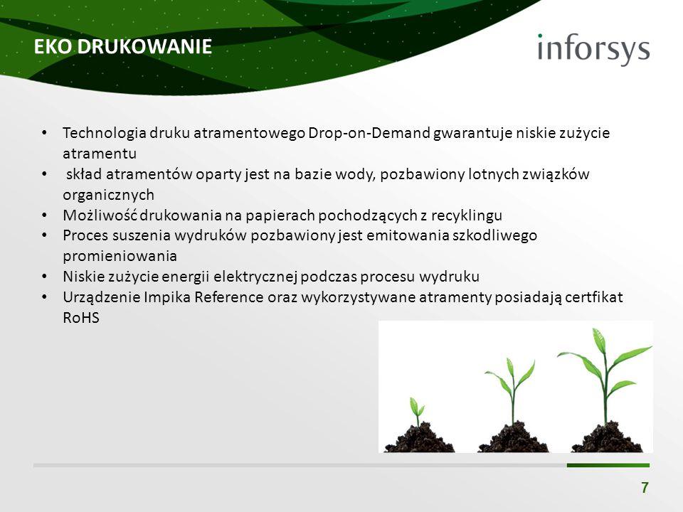 EKO DRUKOWANIE 7 Technologia druku atramentowego Drop-on-Demand gwarantuje niskie zużycie atramentu skład atramentów oparty jest na bazie wody, pozbaw