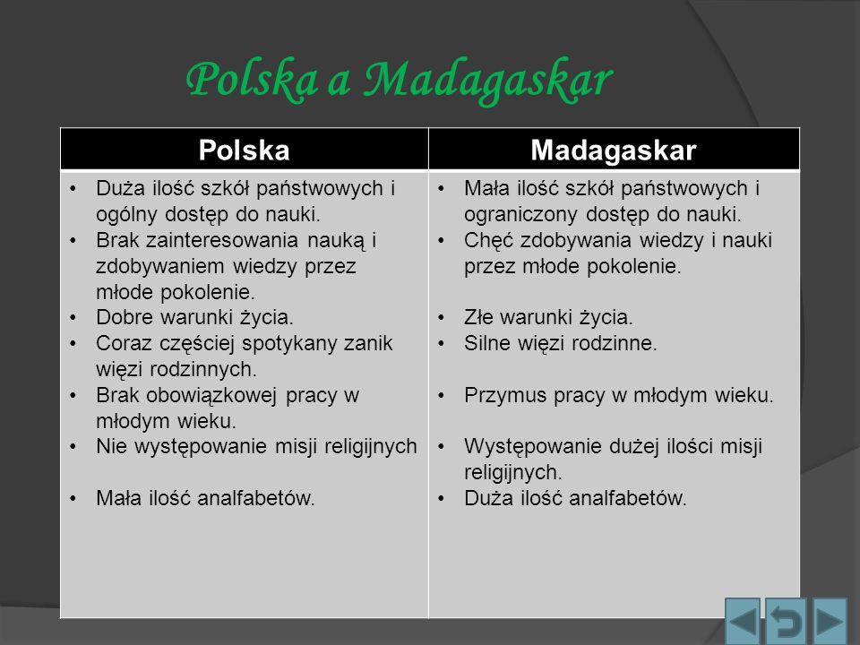 Polska a Madagaskar PolskaMadagaskar Duża ilość szkół państwowych i ogólny dostęp do nauki. Brak zainteresowania nauką i zdobywaniem wiedzy przez młod