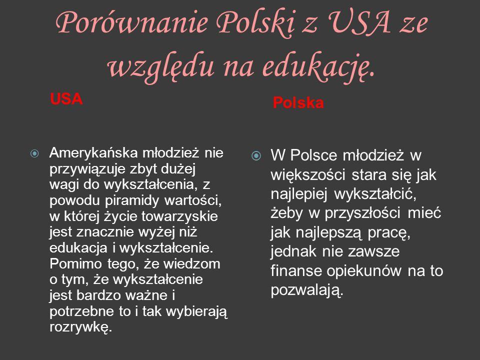Porównanie Polski z USA ze względu na edukację. USA  Amerykańska młodzież nie przywiązuje zbyt dużej wagi do wykształcenia, z powodu piramidy wartośc