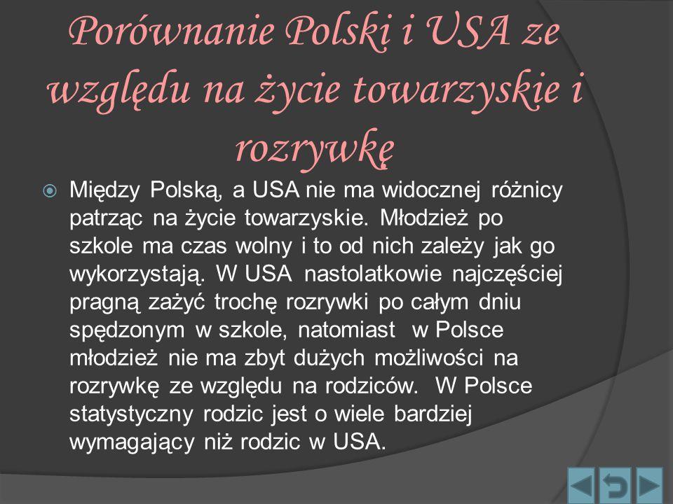 Porównanie Polski i USA ze względu na życie towarzyskie i rozrywkę  Między Polską, a USA nie ma widocznej różnicy patrząc na życie towarzyskie. Młodz