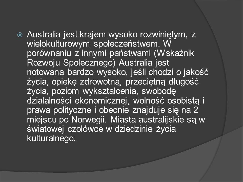  Australia jest krajem wysoko rozwiniętym, z wielokulturowym społeczeństwem. W porównaniu z innymi państwami (Wskaźnik Rozwoju Społecznego) Australia