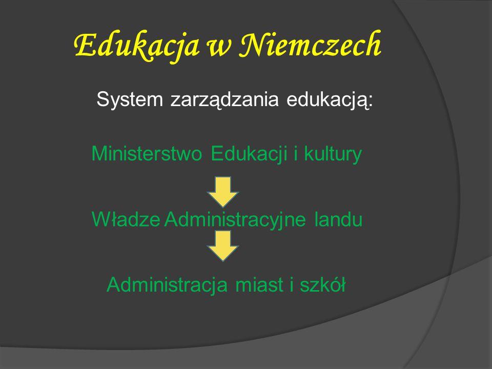 Edukacja w Niemczech System zarządzania edukacją: Ministerstwo Edukacji i kultury Władze Administracyjne landu Administracja miast i szkół