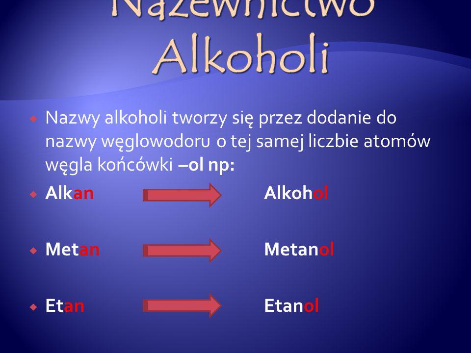  Nazwy alkoholi tworzy się przez dodanie do nazwy węglowodoru o tej samej liczbie atomów węgla końcówki –ol np:  Alkan Alkohol  MetanMetanol  EtanEtanol