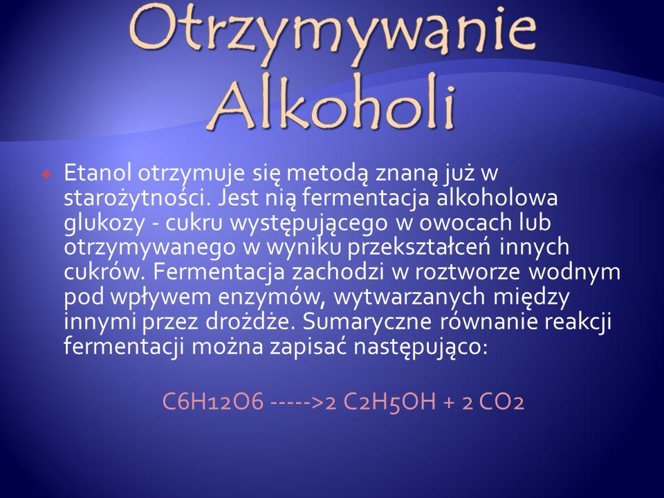 Nazwy alkoholi tworzy się przez dodanie do nazwy węglowodoru o tej samej liczbie atomów węgla końcówki –ol np:  Alkan Alkohol  MetanMetanol  Etan