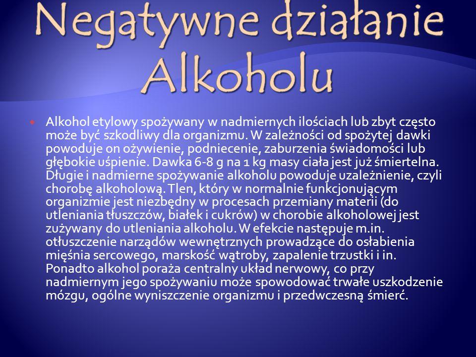  Alkohol etylowy spożywany w nadmiernych ilościach lub zbyt często może być szkodliwy dla organizmu.