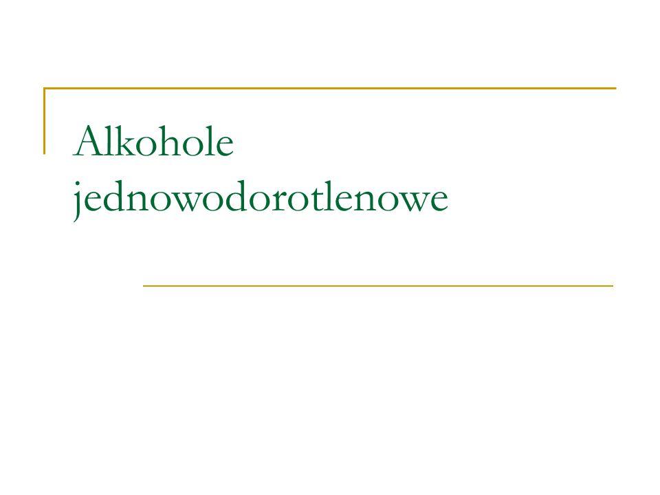Alkohole - to związki organiczne zawierające jedną lub kilka grup wodorotlenowych  OH (hydroksylowych) połączonych z łańcuchem lub pierścieniem alifatycznym.