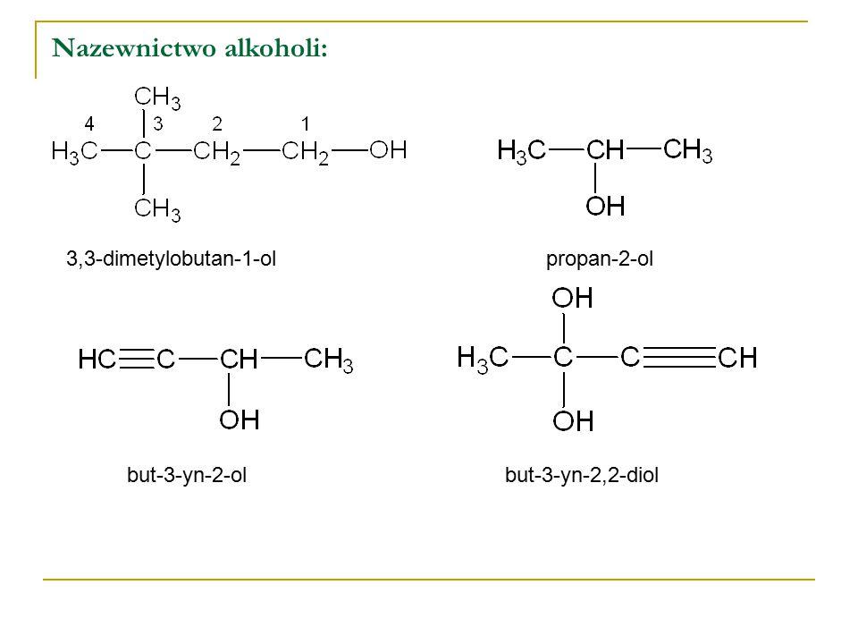 Właściwości chemiczne alkoholi: Alkohole należą do reaktywnych związków organicznych i ulegają licznym reakcjom chemicznym: reakcja alkoholi z metalami aktywnymi metanolan sodu (alkoholan) reakcja alkoholi z halogenowodorami (HCl, HBr i HJ) odwadnianie alkoholi: