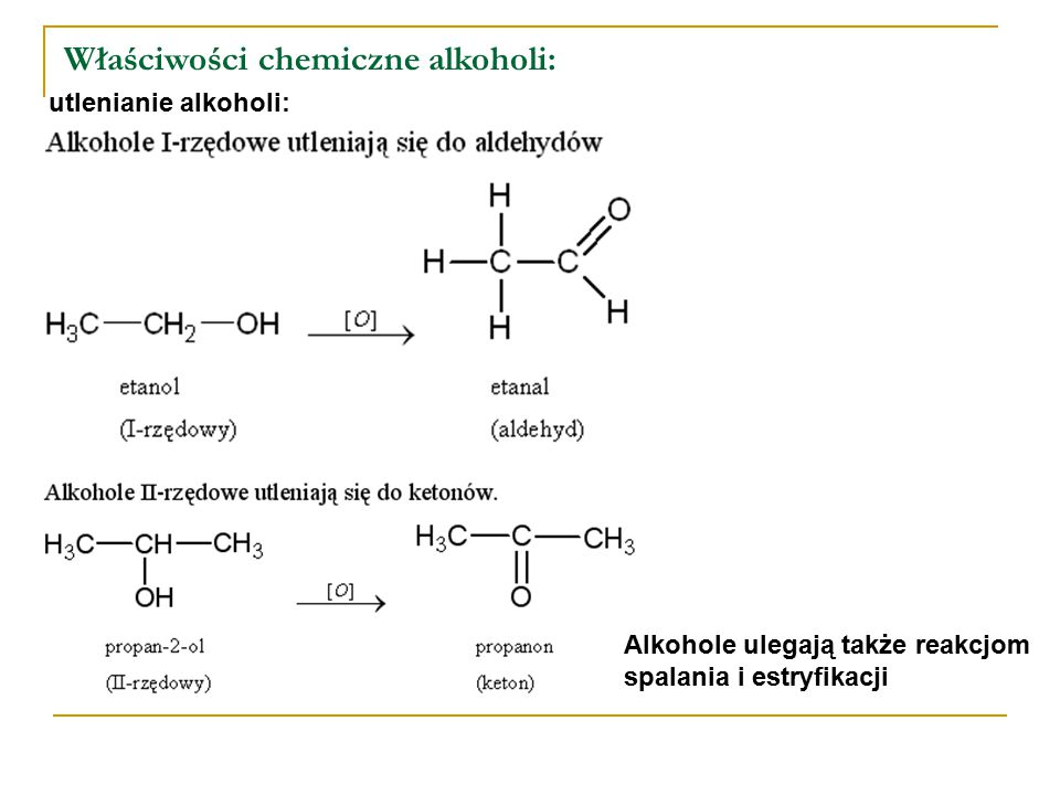 Otrzymywanie metanolu i etanolu: hydroliza halogenoalkanów: synteza z gazu syntezowego: fermentacja alkoholowa: uwodnienie alkenów: Alkohole otrzymujemy także w wyniku reakcji redukcji aldehydów, ketonów i kwasów karboksylowych, a także reakcji hydrolizy estrów