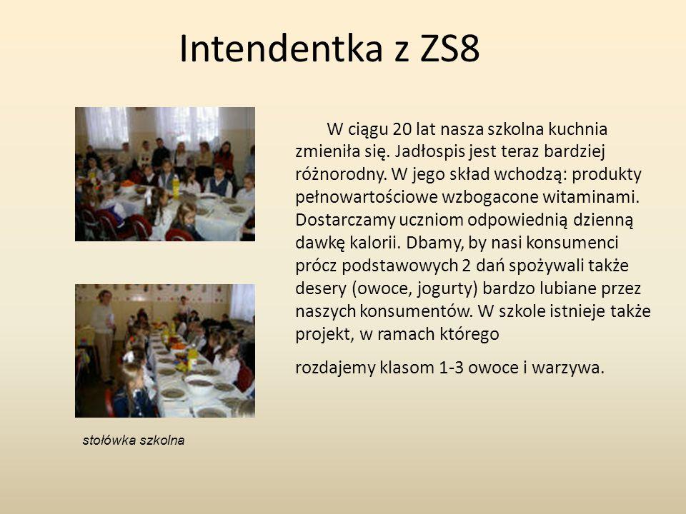 Intendentka z ZS8 W ciągu 20 lat nasza szkolna kuchnia zmieniła się. Jadłospis jest teraz bardziej różnorodny. W jego skład wchodzą: produkty pełnowar
