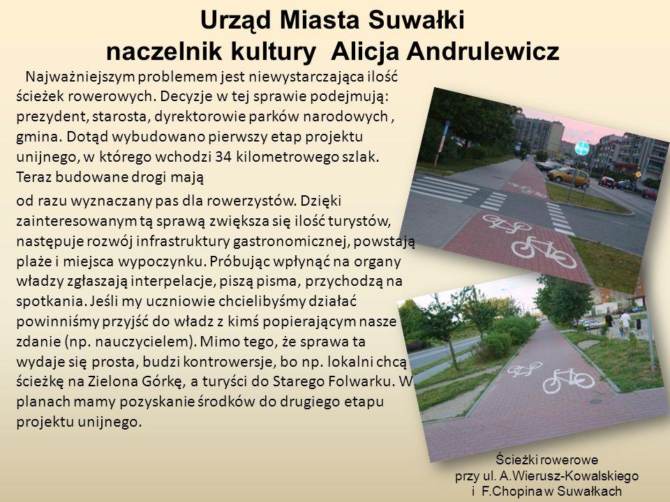 Najważniejszym problemem jest niewystarczająca ilość ścieżek rowerowych. Decyzje w tej sprawie podejmują: prezydent, starosta, dyrektorowie parków nar